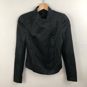 C. Luce black draped moto jacket style blazer - S